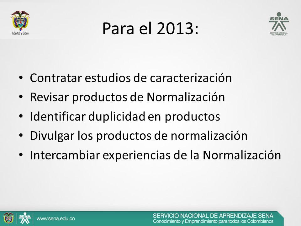 Para el 2013: Contratar estudios de caracterización Revisar productos de Normalización Identificar duplicidad en productos Divulgar los productos de n