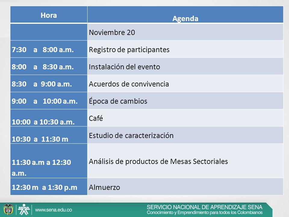Hora Agenda Noviembre 20 7:30 a 8:00 a.m.Registro de participantes 8:00 a 8:30 a.m.Instalación del evento 8:30 a 9:00 a.m.Acuerdos de convivencia 9:00
