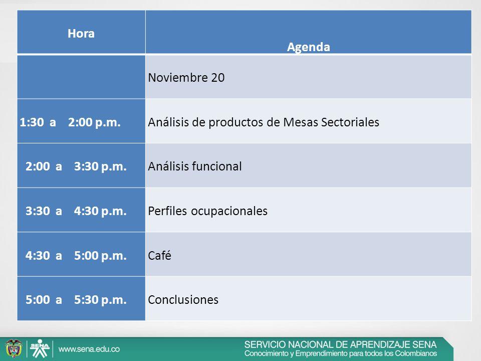 Hora Agenda Noviembre 20 1:30 a 2:00 p.m.Análisis de productos de Mesas Sectoriales 2:00 a 3:30 p.m.Análisis funcional 3:30 a 4:30 p.m.Perfiles ocupac