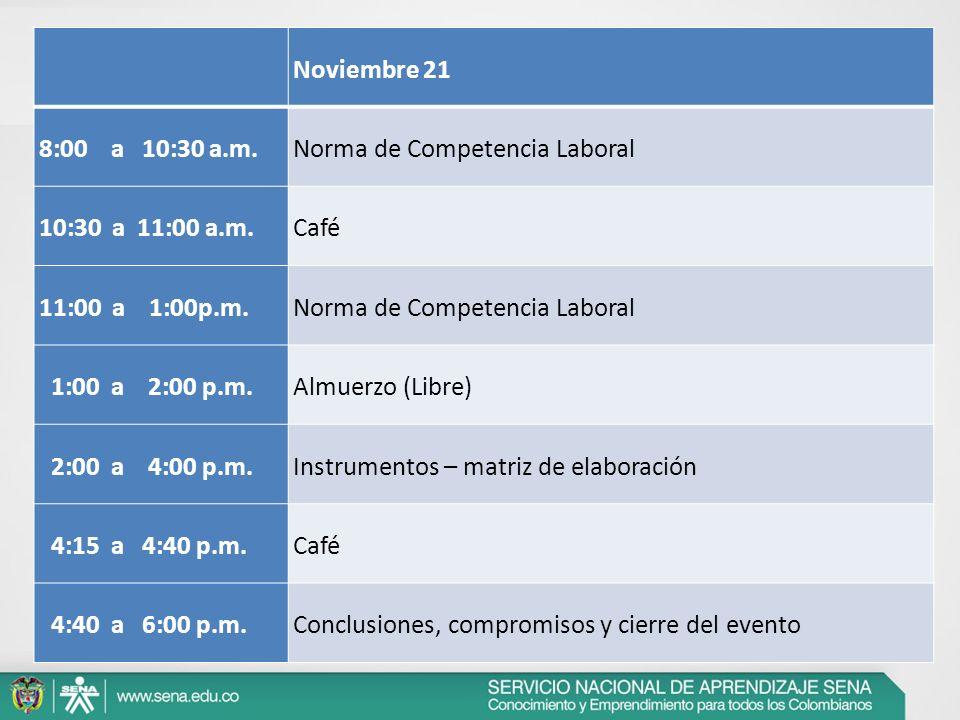 Noviembre 21 8:00 a 10:30 a.m.Norma de Competencia Laboral 10:30 a 11:00 a.m.Café 11:00 a 1:00p.m.Norma de Competencia Laboral 1:00 a 2:00 p.m.Almuerz