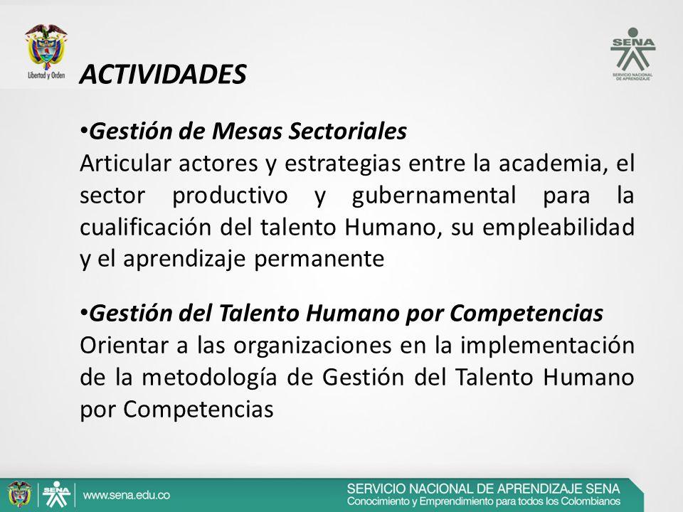 ACTIVIDADES Gestión de Mesas Sectoriales Articular actores y estrategias entre la academia, el sector productivo y gubernamental para la cualificación