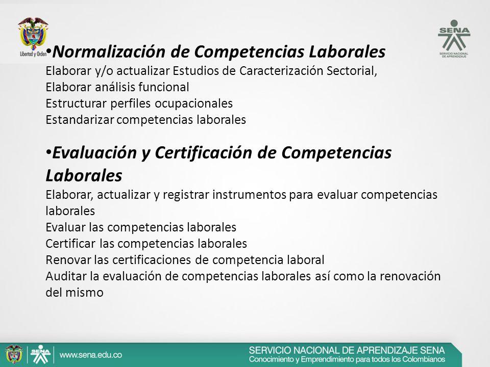 Normalización de Competencias Laborales Elaborar y/o actualizar Estudios de Caracterización Sectorial, Elaborar análisis funcional Estructurar perfile