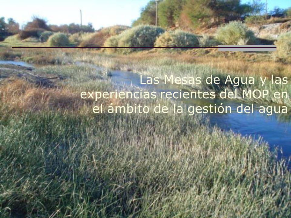Las Mesas de Agua y las experiencias recientes del MOP en el ámbito de la gestión del agua