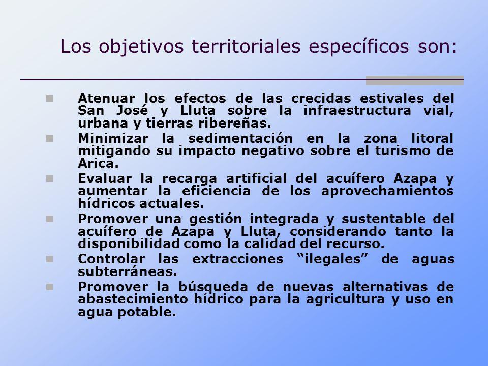 Los objetivos territoriales específicos son: Atenuar los efectos de las crecidas estivales del San José y Lluta sobre la infraestructura vial, urbana