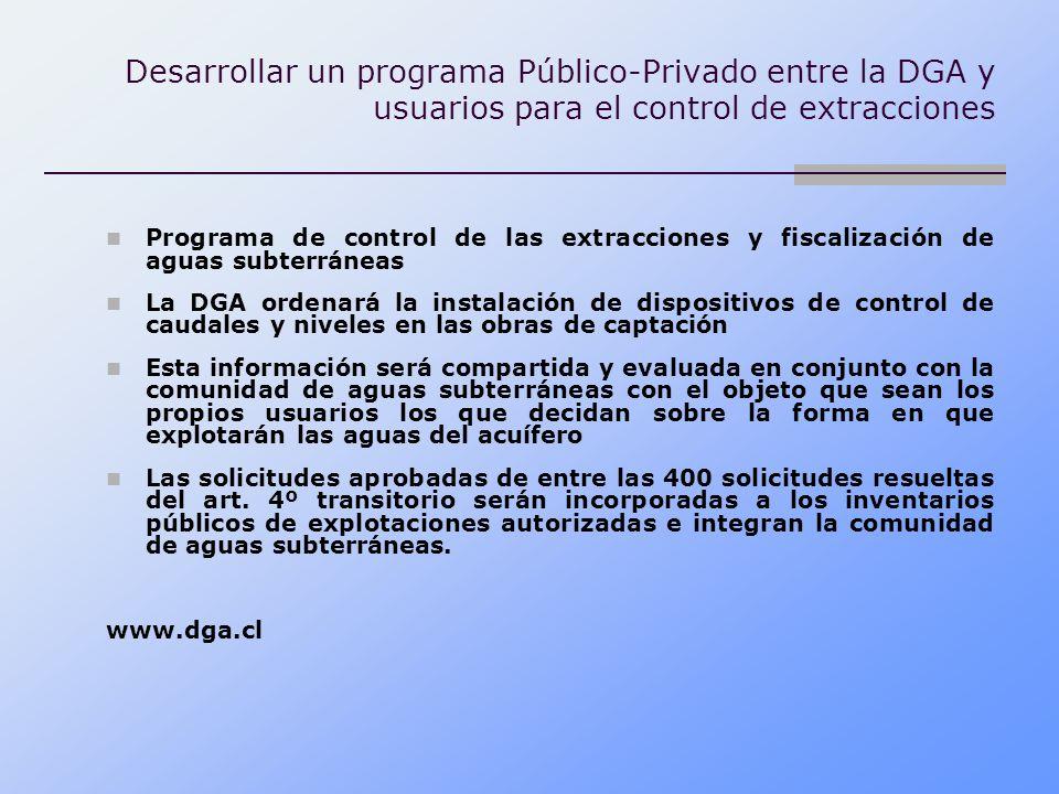Desarrollar un programa Público-Privado entre la DGA y usuarios para el control de extracciones Programa de control de las extracciones y fiscalizació