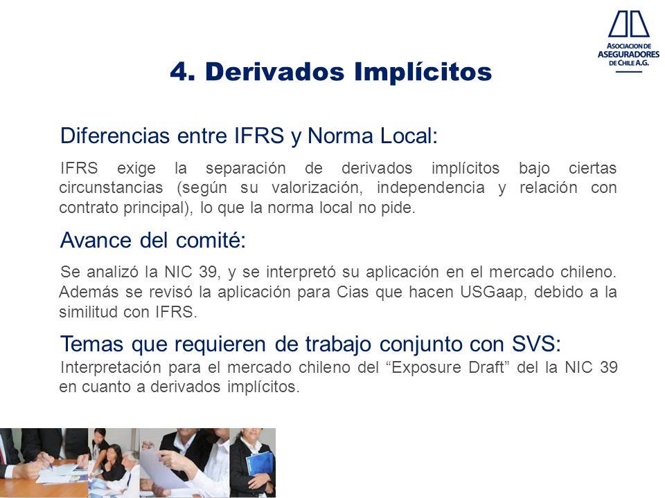 4. Derivados Implícitos Diferencias entre IFRS y Norma Local: IFRS exige la separación de derivados implícitos bajo ciertas circunstancias (según su v