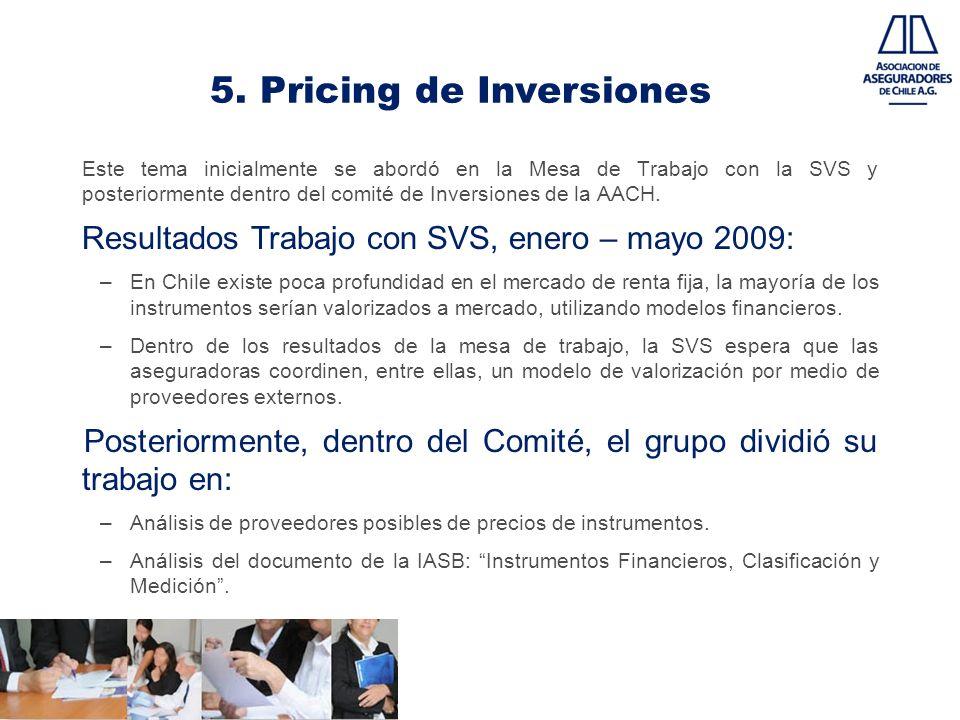 5. Pricing de Inversiones Este tema inicialmente se abordó en la Mesa de Trabajo con la SVS y posteriormente dentro del comité de Inversiones de la AA