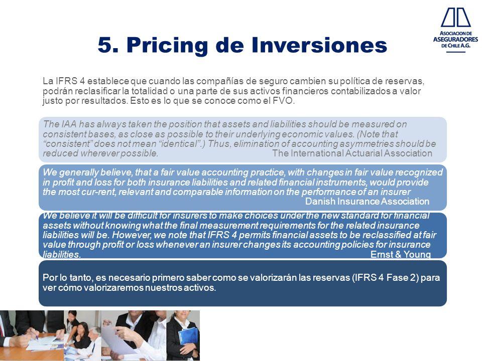 5. Pricing de Inversiones La IFRS 4 establece que cuando las compañías de seguro cambien su política de reservas, podrán reclasificar la totalidad o u