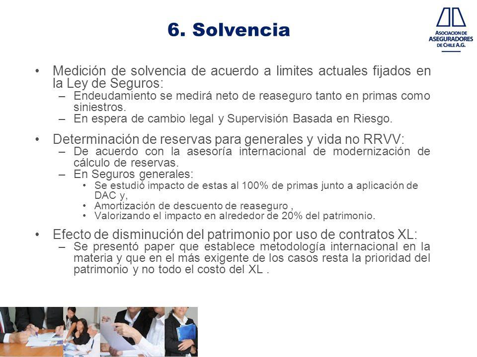 6. Solvencia Medición de solvencia de acuerdo a limites actuales fijados en la Ley de Seguros: –Endeudamiento se medirá neto de reaseguro tanto en pri