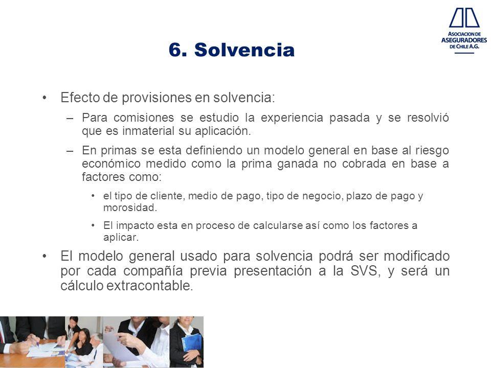 6. Solvencia Efecto de provisiones en solvencia: –Para comisiones se estudio la experiencia pasada y se resolvió que es inmaterial su aplicación. –En