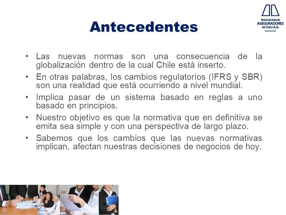 Antecedentes Las nuevas normas son una consecuencia de la globalización dentro de la cual Chile está inserto. En otras palabras, los cambios regulator