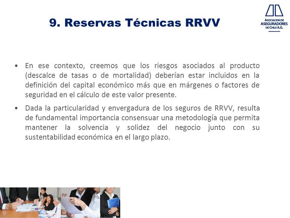 9. Reservas Técnicas RRVV En ese contexto, creemos que los riesgos asociados al producto (descalce de tasas o de mortalidad) deberían estar incluidos