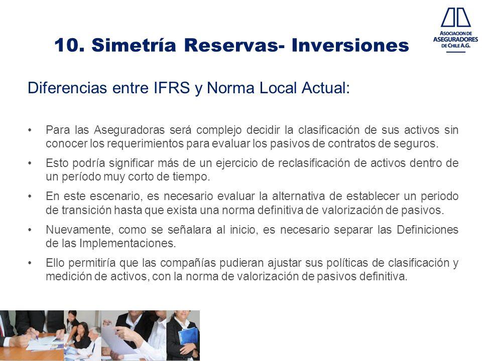 10. Simetría Reservas- Inversiones Diferencias entre IFRS y Norma Local Actual: Para las Aseguradoras será complejo decidir la clasificación de sus ac