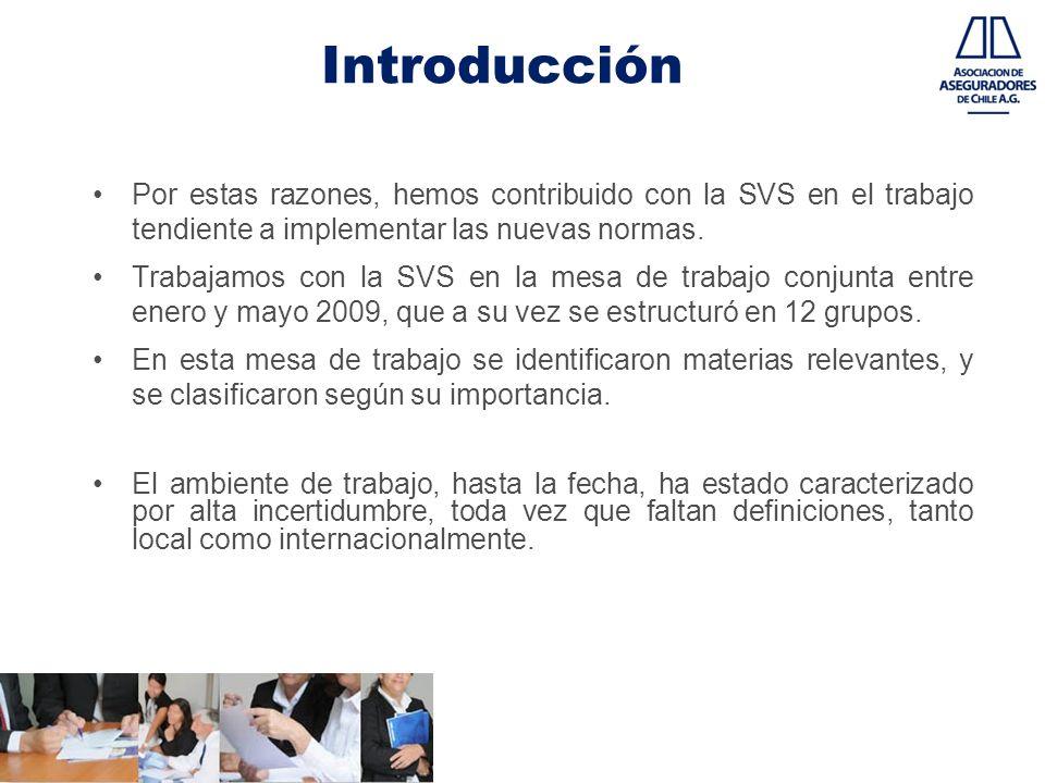 Introducción Por estas razones, hemos contribuido con la SVS en el trabajo tendiente a implementar las nuevas normas. Trabajamos con la SVS en la mesa