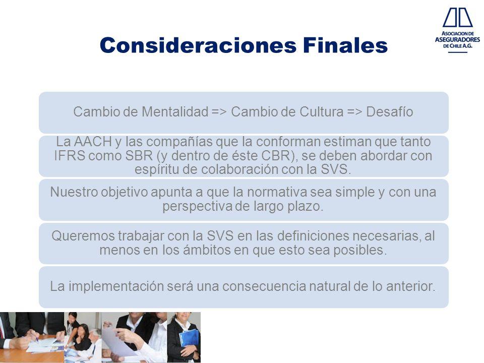 Consideraciones Finales Cambio de Mentalidad => Cambio de Cultura => Desafío La AACH y las compañías que la conforman estiman que tanto IFRS como SBR