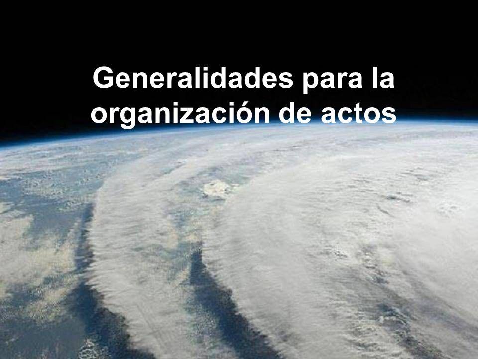 Generalidades para la organización de actos