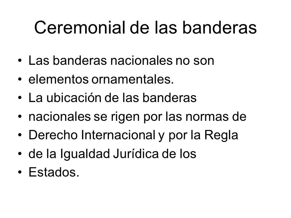 Ceremonial de las banderas Las banderas nacionales no son elementos ornamentales. La ubicación de las banderas nacionales se rigen por las normas de D