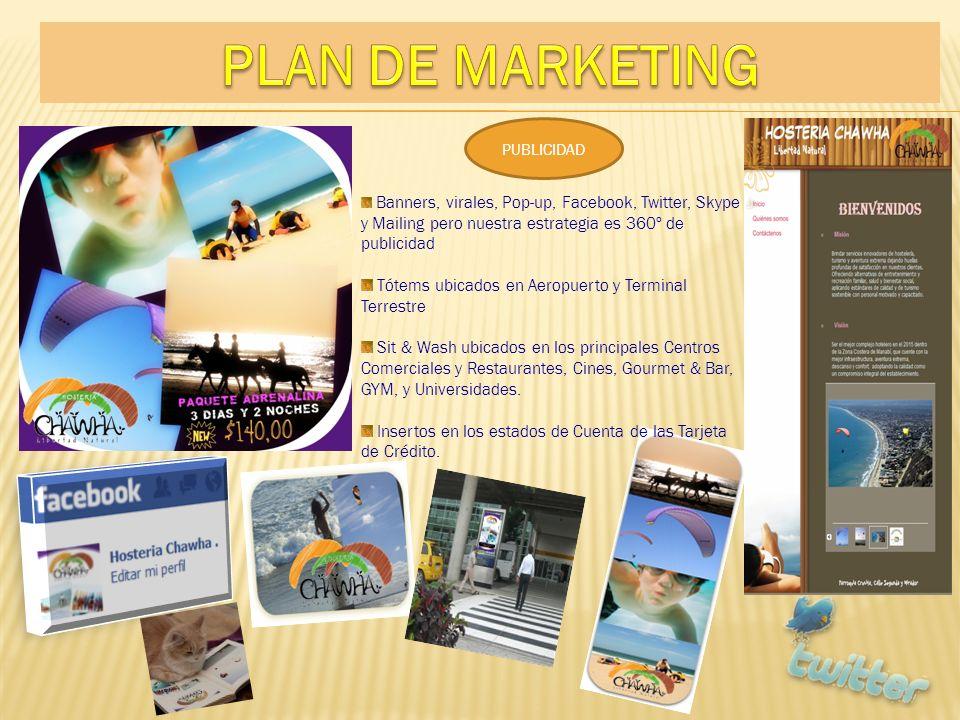 PUBLICIDAD Banners, virales, Pop-up, Facebook, Twitter, Skype y Mailing pero nuestra estrategia es 360º de publicidad Tótems ubicados en Aeropuerto y