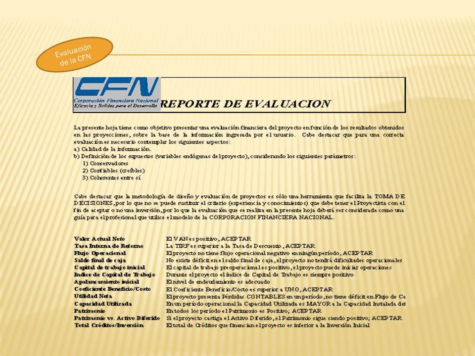 Evaluación de la CFN