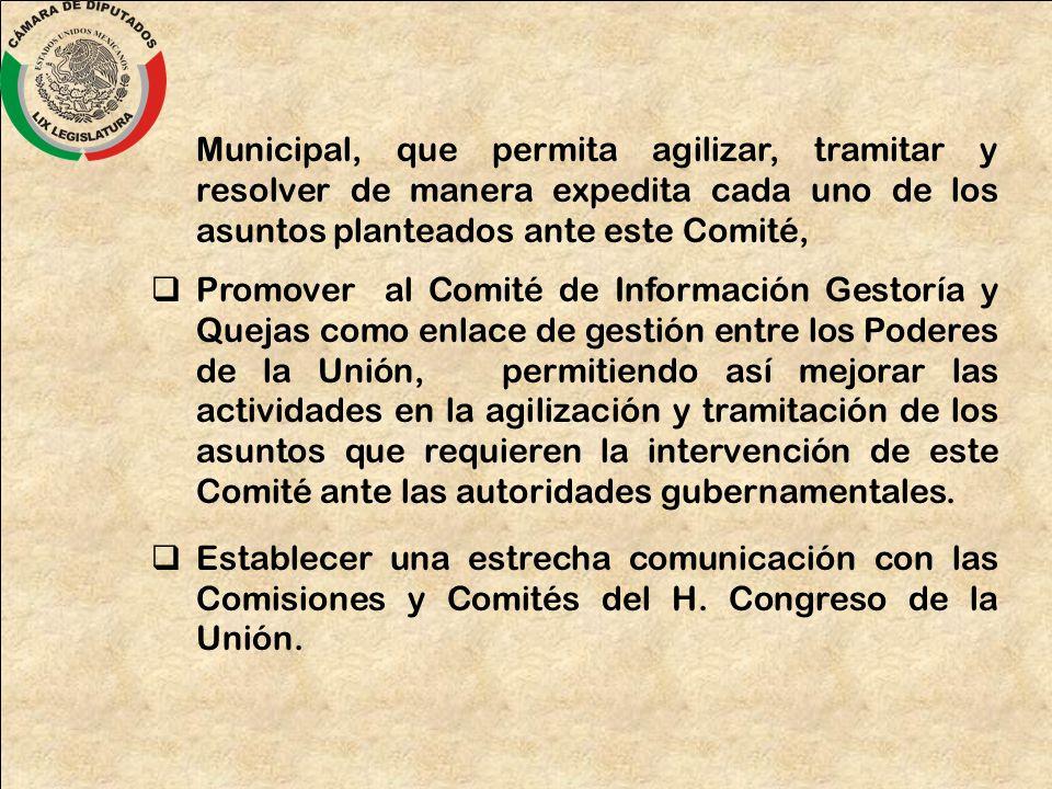 Municipal, que permita agilizar, tramitar y resolver de manera expedita cada uno de los asuntos planteados ante este Comité, Promover al Comité de Inf