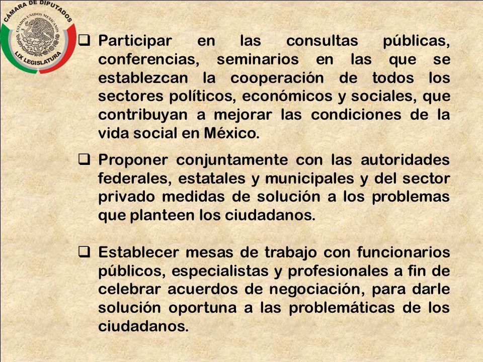 Participar en las consultas públicas, conferencias, seminarios en las que se establezcan la cooperación de todos los sectores políticos, económicos y