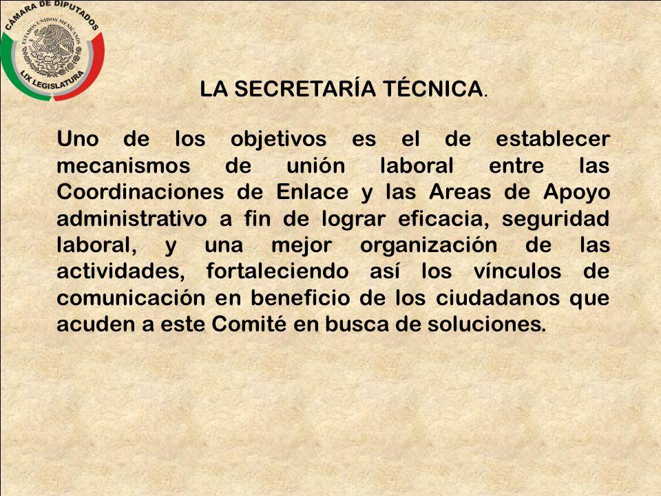 LA SECRETARÍA TÉCNICA. Uno de los objetivos es el de establecer mecanismos de unión laboral entre las Coordinaciones de Enlace y las Areas de Apoyo ad