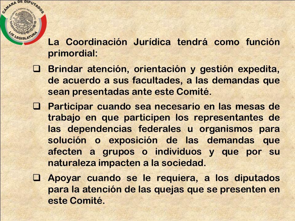 La Coordinación Jurídica tendrá como función primordial: Brindar atención, orientación y gestión expedita, de acuerdo a sus facultades, a las demandas