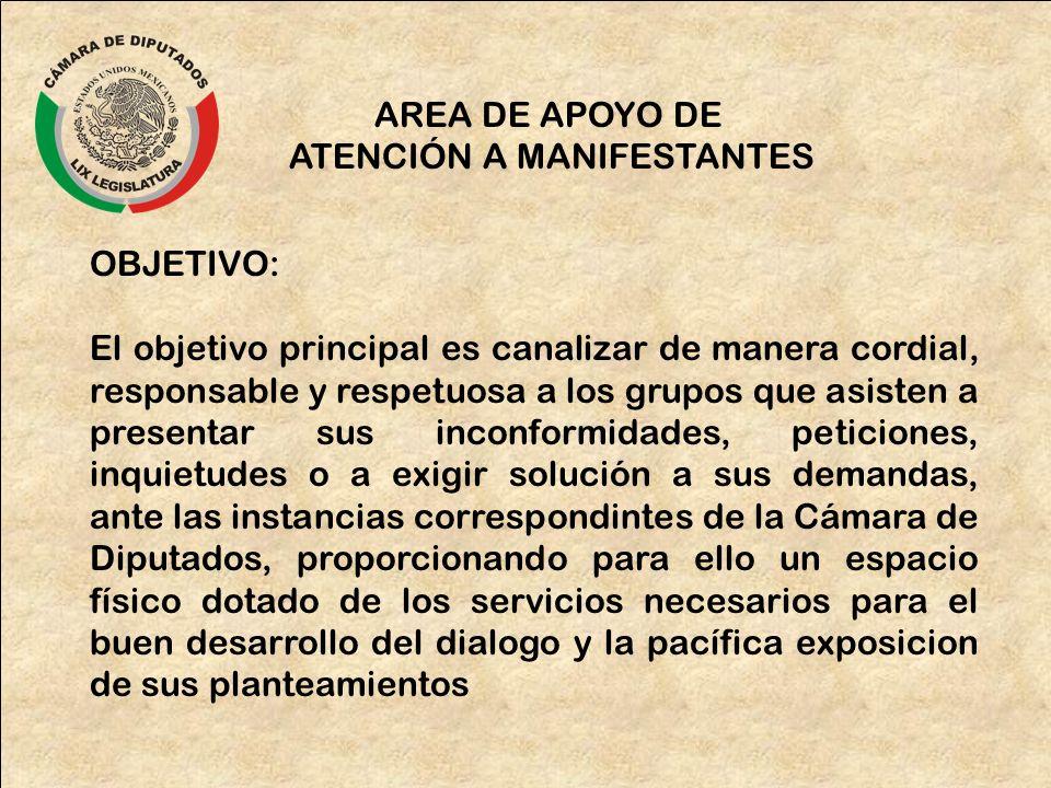 AREA DE APOYO DE ATENCIÓN A MANIFESTANTES OBJETIVO: El objetivo principal es canalizar de manera cordial, responsable y respetuosa a los grupos que as