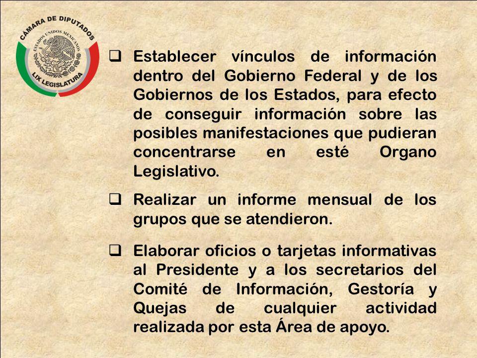 Establecer vínculos de información dentro del Gobierno Federal y de los Gobiernos de los Estados, para efecto de conseguir información sobre las posib
