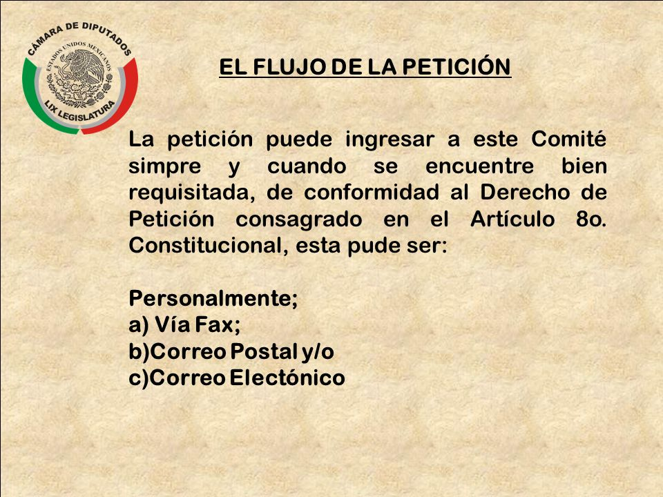 EL FLUJO DE LA PETICIÓN La petición puede ingresar a este Comité simpre y cuando se encuentre bien requisitada, de conformidad al Derecho de Petición