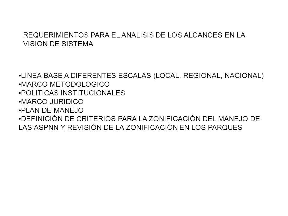 REQUERIMIENTOS PARA EL ANALISIS DE LOS ALCANCES EN LA VISION DE SISTEMA LINEA BASE A DIFERENTES ESCALAS (LOCAL, REGIONAL, NACIONAL) MARCO METODOLOGICO POLITICAS INSTITUCIONALES MARCO JURIDICO PLAN DE MANEJO DEFINICIÓN DE CRITERIOS PARA LA ZONIFICACIÓN DEL MANEJO DE LAS ASPNN Y REVISIÓN DE LA ZONIFICACIÓN EN LOS PARQUES