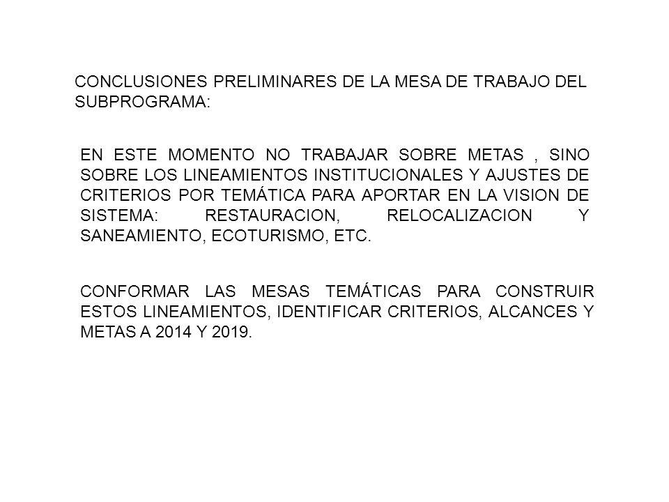 CONCLUSIONES PRELIMINARES DE LA MESA DE TRABAJO DEL SUBPROGRAMA: EN ESTE MOMENTO NO TRABAJAR SOBRE METAS, SINO SOBRE LOS LINEAMIENTOS INSTITUCIONALES Y AJUSTES DE CRITERIOS POR TEMÁTICA PARA APORTAR EN LA VISION DE SISTEMA: RESTAURACION, RELOCALIZACION Y SANEAMIENTO, ECOTURISMO, ETC.
