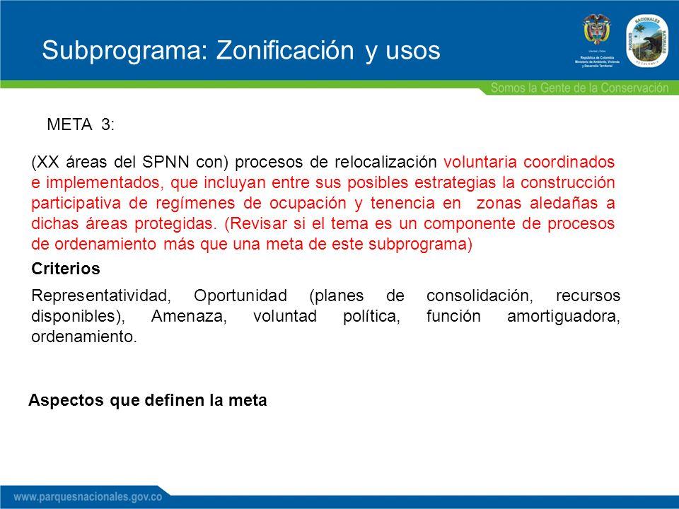 Subprograma: Zonificación y usos META 3: (XX áreas del SPNN con) procesos de relocalización voluntaria coordinados e implementados, que incluyan entre sus posibles estrategias la construcción participativa de regímenes de ocupación y tenencia en zonas aledañas a dichas áreas protegidas.