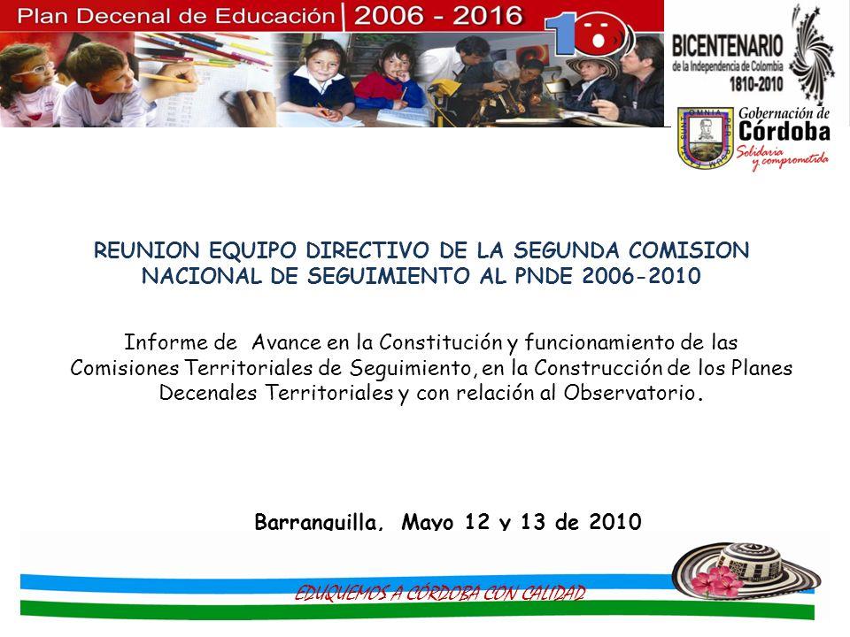 Informe de Avance en la Constitución y funcionamiento de las Comisiones Territoriales de Seguimiento, en la Construcción de los Planes Decenales Terri