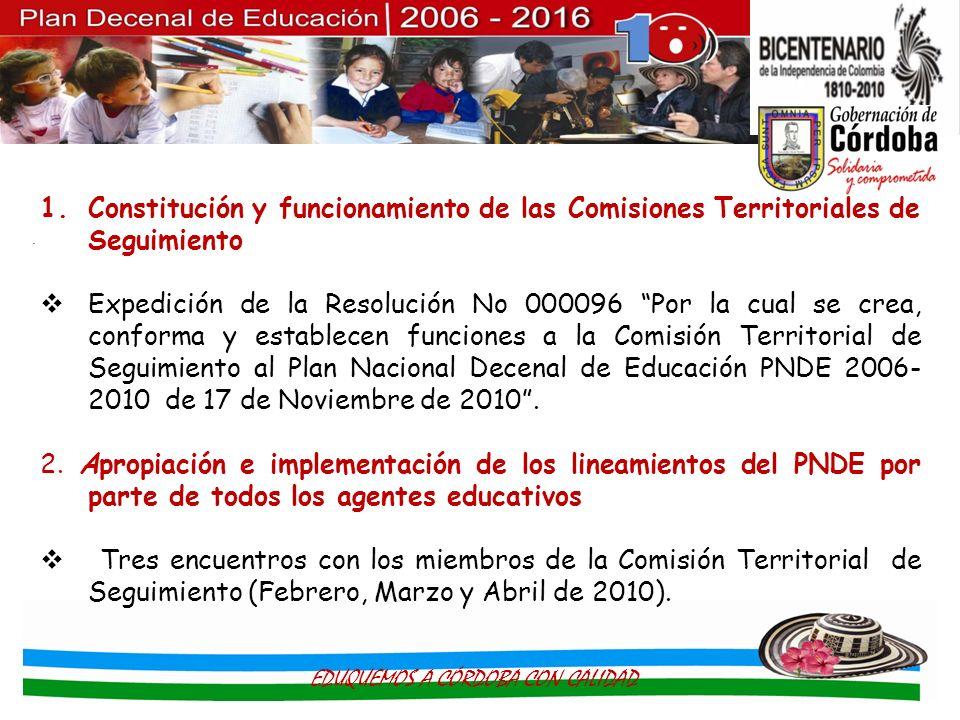 . 1.Constitución y funcionamiento de las Comisiones Territoriales de Seguimiento Expedición de la Resolución No 000096 Por la cual se crea, conforma y