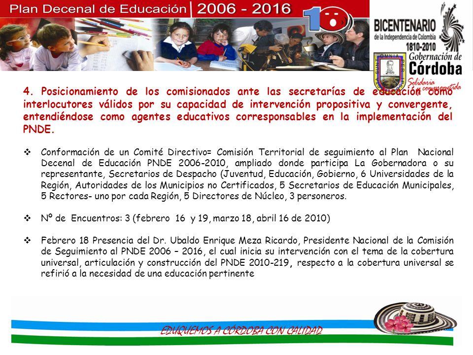 4. Posicionamiento de los comisionados ante las secretarías de educación como interlocutores válidos por su capacidad de intervención propositiva y co