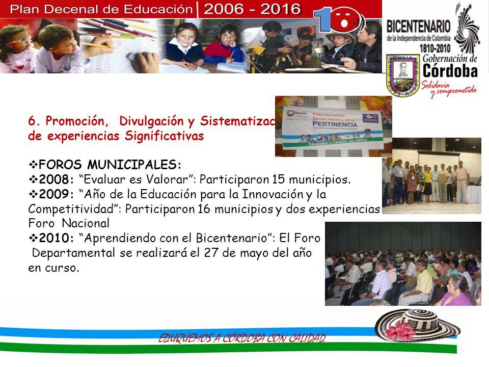 6. Promoción, Divulgación y Sistematización de experiencias Significativas FOROS MUNICIPALES: 2008: Evaluar es Valorar: Participaron 15 municipios. 20