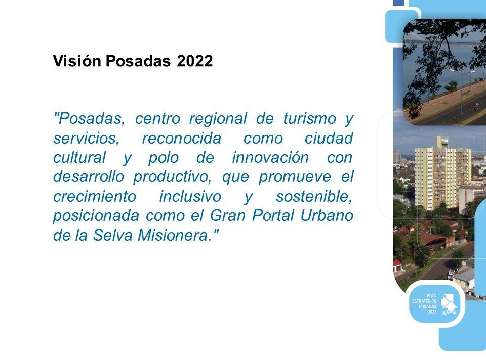 Visión Posadas 2022 Posadas, centro regional de turismo y servicios, reconocida como ciudad cultural y polo de innovación con desarrollo productivo, que promueve el crecimiento inclusivo y sostenible, posicionada como el Gran Portal Urbano de la Selva Misionera.