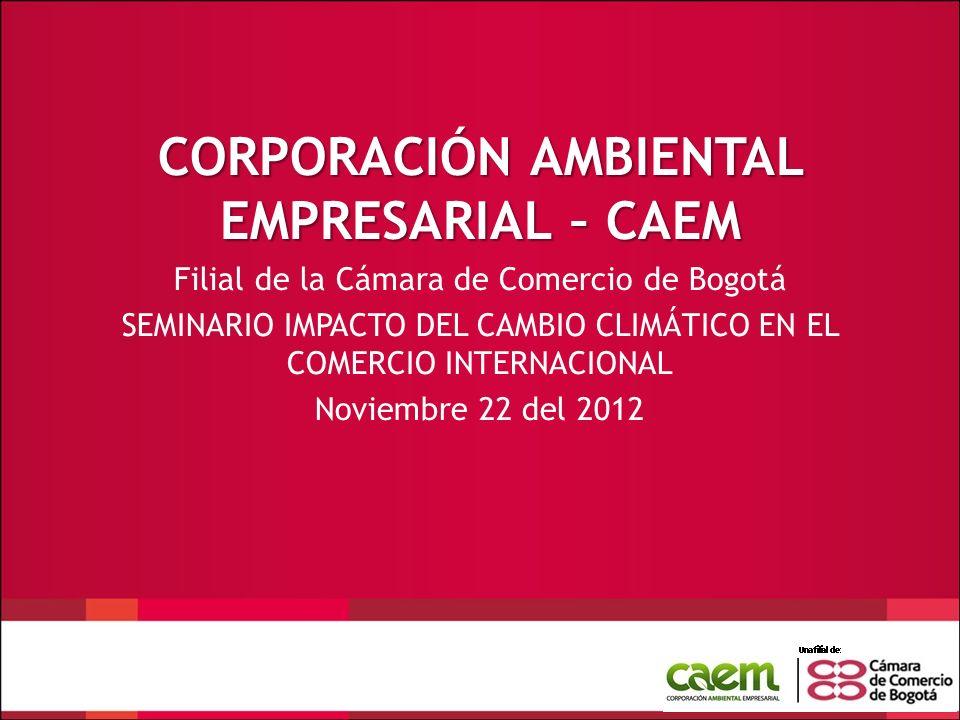 CORPORACIÓN AMBIENTAL EMPRESARIAL – CAEM Filial de la Cámara de Comercio de Bogotá SEMINARIO IMPACTO DEL CAMBIO CLIMÁTICO EN EL COMERCIO INTERNACIONAL