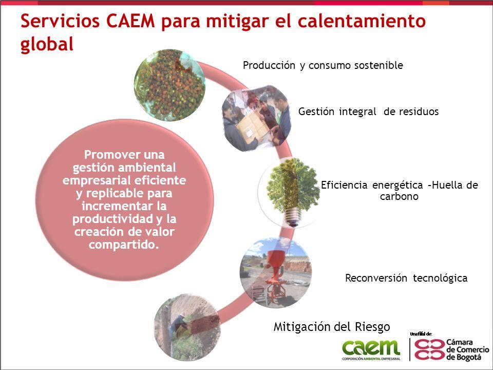 Servicios CAEM para mitigar el calentamiento global Promover una gestión ambiental empresarial eficiente y replicable para incrementar la productivida