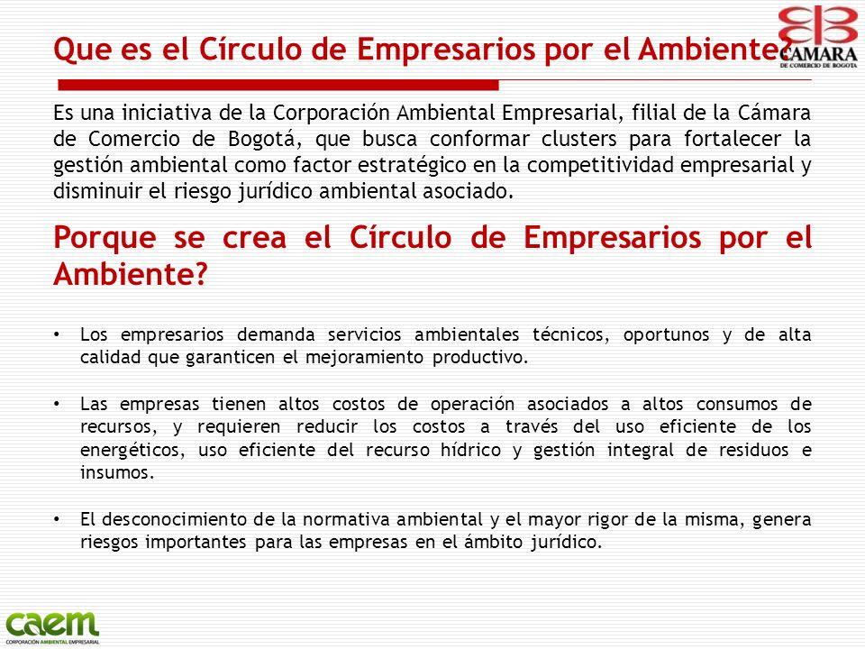 Que es el Círculo de Empresarios por el Ambiente? Es una iniciativa de la Corporación Ambiental Empresarial, filial de la Cámara de Comercio de Bogotá