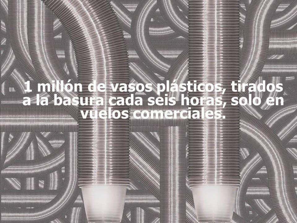 1 millón de vasos plásticos, tirados a la basura cada seis horas, solo en vuelos comerciales.