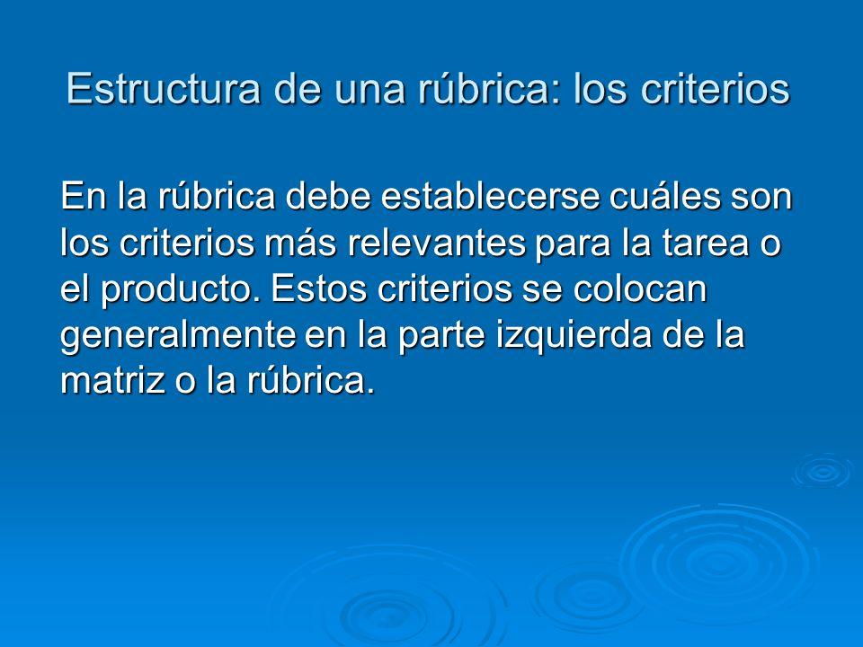 Estructura de una rúbrica: los criterios En la rúbrica debe establecerse cuáles son los criterios más relevantes para la tarea o el producto.