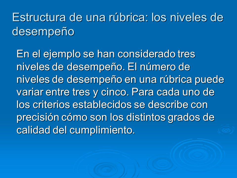 Estructura de una rúbrica: los niveles de desempeño En el ejemplo se han considerado tres niveles de desempeño.