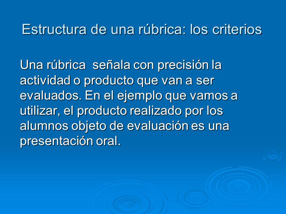 Estructura de una rúbrica: los criterios Una rúbrica señala con precisión la actividad o producto que van a ser evaluados.