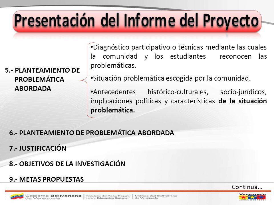 5.- PLANTEAMIENTO DE PROBLEMÁTICA ABORDADA Diagnóstico participativo o técnicas mediante las cuales la comunidad y los estudiantes reconocen las probl