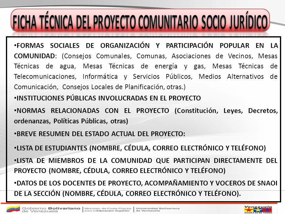 FORMAS SOCIALES DE ORGANIZACIÓN Y PARTICIPACIÓN POPULAR EN LA COMUNIDAD: (Consejos Comunales, Comunas, Asociaciones de Vecinos, Mesas Técnicas de agua