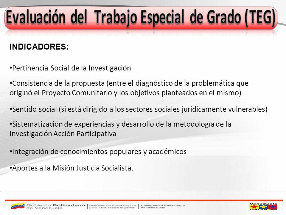Pertinencia Social de la Investigación Consistencia de la propuesta (entre el diagnóstico de la problemática que originó el Proyecto Comunitario y los