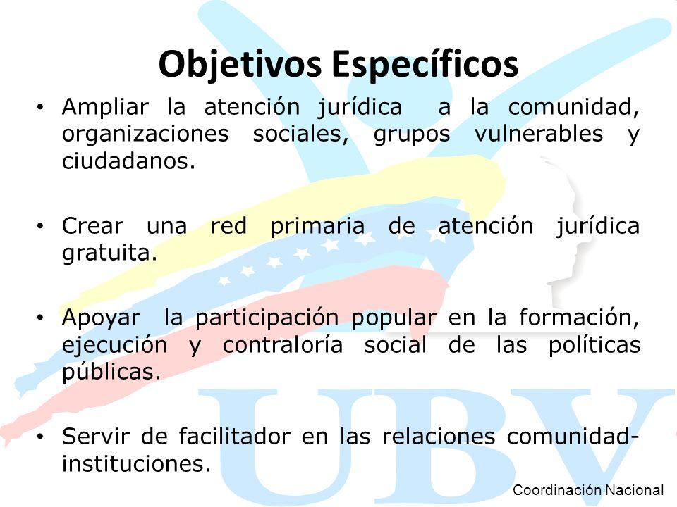 Objetivos Específicos Ampliar la atención jurídica a la comunidad, organizaciones sociales, grupos vulnerables y ciudadanos. Crear una red primaria de