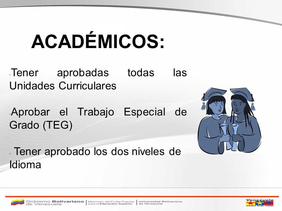 ACADÉMICOS: - Tener aprobadas todas las Unidades Curriculares - Aprobar el Trabajo Especial de Grado (TEG) - Tener aprobado los dos niveles de Idioma